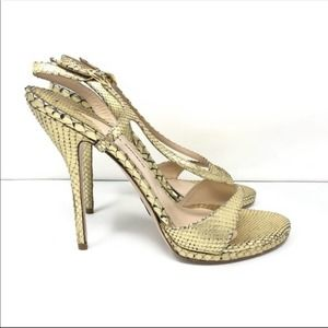 Paul Andrew Aria Snakeskin Strappy Sandals